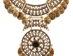 Golden Faceted Stone Statement Coin Necklace Choies.com online fashion store United Kingdom Europe