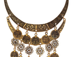 Golden Flower And Coin Drop Ornate Statement Necklace Choies.com online fashion store United Kingdom Europe