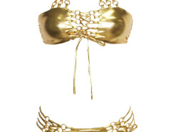 Golden Halter Strappy Bikini Top And Tie Side Bottom Choies.com online fashion store United Kingdom Europe