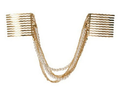 Golden Hanging Faux Pearl And Chain Hair Comb Choies.com online fashion store United Kingdom Europe