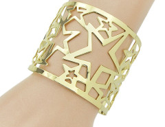 Golden Hollow Out Stars Open Cuff Bracelet Choies.com online fashion store United Kingdom Europe