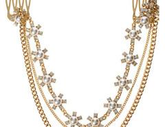 Golden Jewel Floral Hanging Chain Hair Comb Choies.com online fashion store United Kingdom Europe