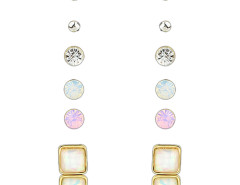 Golden Rhinestone Embellished Earring Pack Choies.com online fashion store United Kingdom Europe
