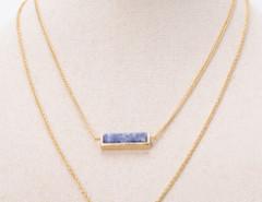 Golden Semi Precious Bar Multirow Necklace Choies.com online fashion store United Kingdom Europe