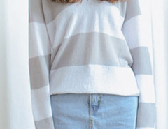 Gray And White Color Block V Neck Long Sleeve Jumper Choies.com online fashion store United Kingdom Europe