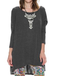 Gray Back Cross Long Sleeve Dipped Hem T-shirt Choies.com online fashion store United Kingdom Europe