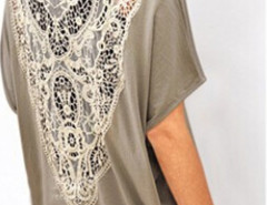 Gray Batwing Short Sleeve Crochet Lace Back T-shirt Choies.com online fashion store United Kingdom Europe