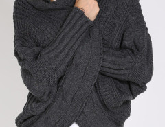Gray Batwing Sleeve  Ribbed Trims Drop Shoulder Cable Cardigan Choies.com online fashion store United Kingdom Europe