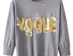 Gray Bead And Sequin Letter Round Neck Sweater Choies.com online fashion store United Kingdom Europe
