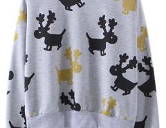 Gray Cartoon Deer Print Long Sleeve Sweatshirt Choies.com online fashion store United Kingdom Europe