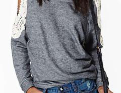 Gray Cold Shoulder Crochet Lace Sleeve T-shirt Choies.com online fashion store United Kingdom Europe