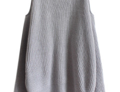 Gray Cold Shoulder Long Sleeve Jumper Choies.com online fashion store United Kingdom Europe