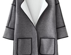 Gray Collarless Half Sleeve Pocket Detail Coat Choies.com online fashion store United Kingdom Europe