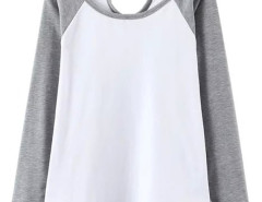 Gray Contrast Cut Out Long Sleeve T-shirt Choies.com online fashion store United Kingdom Europe