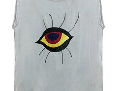 Gray Contrast Eye Print Dipped Back Vest Choies.com online fashion store United Kingdom Europe