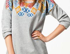 Gray Contrast Geo Print Long Sleeve T-shirt Choies.com online fashion store United Kingdom Europe