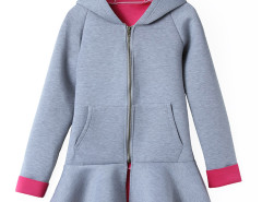 Gray Contrast Pocket Zipper Front Peplum Hoodie Choies.com online fashion store United Kingdom Europe