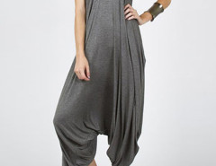 Gray Drop Crotch Ruched Loose Cami Jumpsuit Choies.com online fashion store United Kingdom Europe
