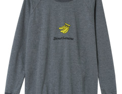 Gray Embroidery Banana And Letter Pattern Sweatshirt Choies.com online fashion store United Kingdom Europe