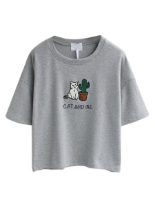 Gray Embroidery Letter And Cat Patch Short Sleeve T-shirt Choies.com online fashion store United Kingdom Europe