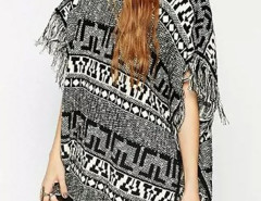 Gray Geo Pattern Batwing Sleeve Tassel Knitted Sweater Choies.com online fashion store United Kingdom Europe