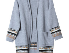 Gray Geo Pattern Trim Longline Cardigan Choies.com online fashion store United Kingdom Europe