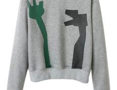 Gray Geo Print Round Neck Sweatshirt Choies.com online fashion store United Kingdom Europe