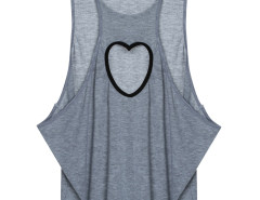 Gray Heart Cut Out Loose Vest Choies.com online fashion store United Kingdom Europe
