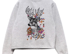 Gray High Neck Embroidery Fawn Pattern Long Sleeve Sweatshirt Choies.com online fashion store United Kingdom Europe