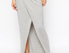 Gray High Waist Wrap Split Maxi Skirt Choies.com online fashion store United Kingdom Europe