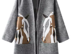 Gray Horse Print Side Split Open Front Coat Choies.com online fashion store United Kingdom Europe
