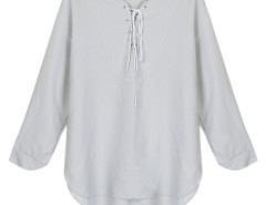 Gray Lace Up Front 3/4 Sleeve Dipped Back Blouse Choies.com online fashion store United Kingdom Europe