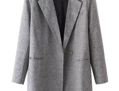 Gray Lapel Button And Pocket Detail Trench Coat Choies.com online fashion store United Kingdom Europe