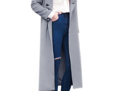 Gray Lapel Single Button Long Sleeve Maxi Coat Choies.com online fashion store United Kingdom Europe