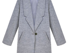 Gray Lapel Single Button Woolen Coat Choies.com online fashion store United Kingdom Europe