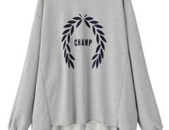Gray Letter And Leaves Print Hi-lo Sweatshirt Choies.com online fashion store United Kingdom Europe