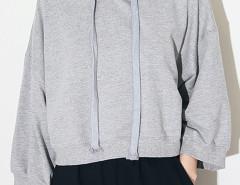 Gray Long Sleeve Drawstring Short Hoodie Choies.com online fashion store United Kingdom Europe