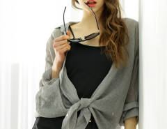 Gray Long Sleeve Sheer Loose Shirt Choies.com online fashion store United Kingdom Europe