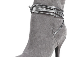 Gray Ponited Toe Strappy Heeled Boots Choies.com online fashion store United Kingdom Europe