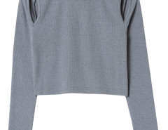 Gray Round Neck Cut Out Long Sleeve T-shirt Choies.com online fashion store United Kingdom Europe