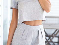 Gray Short Sleeve Crop Top And High Waist Shorts Choies.com online fashion store United Kingdom Europe