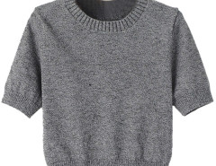 Gray Short Sleeve Knitted Cropped Sweater Choies.com online fashion store United Kingdom Europe