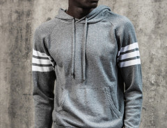 Gray Striped Sleeve Pocket Front Hooded Jumper Choies.com online fashion store United Kingdom Europe