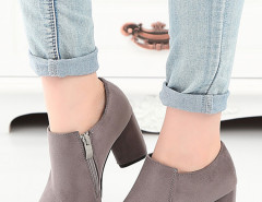Gray Suede Pointed Heel Boots Choies.com online fashion store United Kingdom Europe