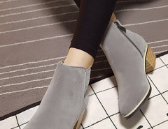 Gray Suedette Pointed Zipper Side Ankle Boots Choies.com online fashion store United Kingdom Europe