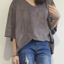 Gray V Neck 3/4 Sleeve Suede Loose T-shirt Choies.com online fashion store United Kingdom Europe