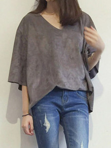 Gray V Neck 3/4 Sleeve Suede Loose T-shirt Choies.com online fashion store United Kingdom Europe