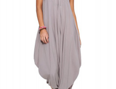 Gray V Neck Ruffle Asymmetric Loose Cami Jumpsuit Choies.com online fashion store United Kingdom Europe