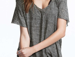 Gray V-neck Short Sleeve Basic T-shirt Choies.com online fashion store United Kingdom Europe