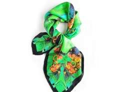 Green Chorus Printed Silk Square Scarf Carnet de Mode online fashion store Europe France